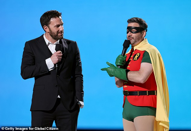 No memo: Kimmel must not have gotten the memo that Affleck wasn't dressing up like Batman, stepping on stage in the iconic orange, green and yellow Robin costume