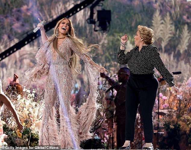 Show:Jennifer later took to the SoFi Stadium stage again to perform her hit 2016 single Ain't Your Mama, with a slew of backup dancers in a colourful ensemble