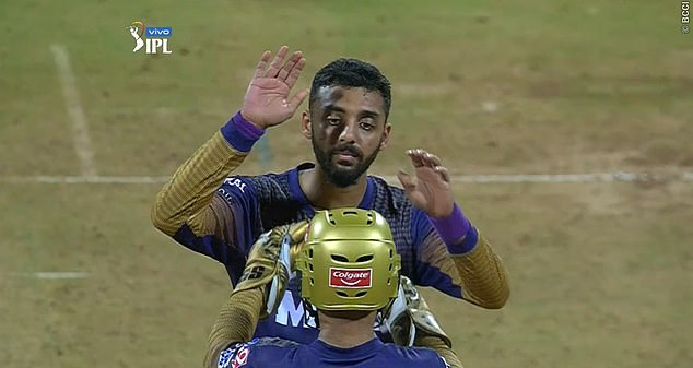 Chakravarthy celebrates taking a wicket during a recent IPL game for the Kolkata side