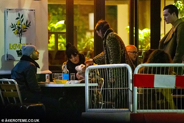 Model appearance: While they were dining they were also greeted by Jude Law and Sadie Frost's modelling offspring Rafferty and Iris Law
