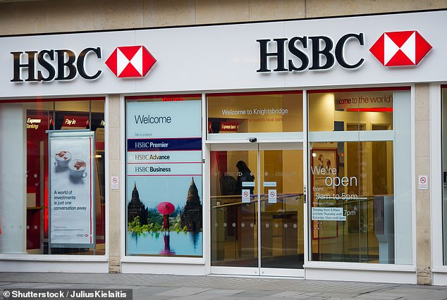 In the note, she said she had chosen to leave after her manager had 'dressed her down' in an 'aggressive' way (pictured, a branch of HSBC in London)