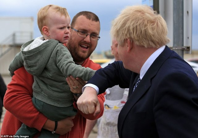 A bullish Boris Johnson hit the campaign trail in Hartlepool today amid fears the bitter 'wallpapergate' row is starting to hit Tory support