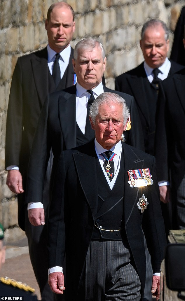 Russell Myers has opened up about how Prince William and Charles are 'united' in wanting to 'get back to business' in the photo, during Prince Philip's funeral