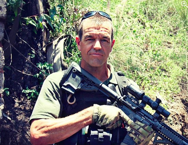 Mr Prinsloo, pictured above, owns a shooting academy called The Edge and trains police, military and security companies in unarmed shooting and combat and how to respond to attacks
