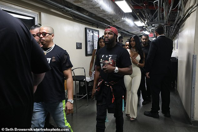 There he is: Boxer Floyd Mayweather was seen arriving