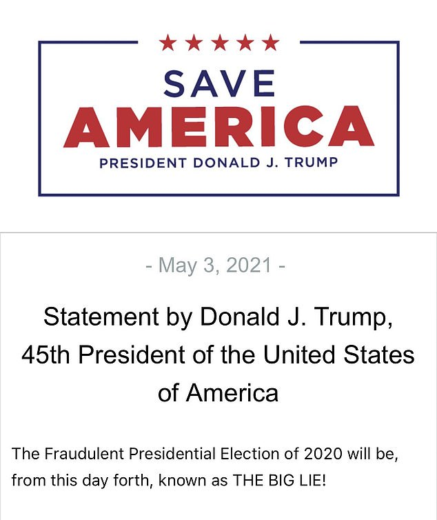 On Monday, however, Trump tried to push that the big lie is 'The Fraudulent President Election of 2020,' instead of it referring to the falsehoods he's said about the election being fraudulent
