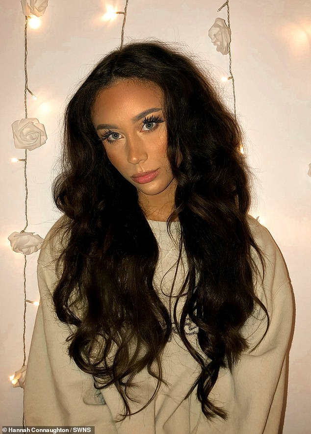 Hannah said she has grown more confident and has found a community that she fits in. Pictured: Hannah wearing extensions