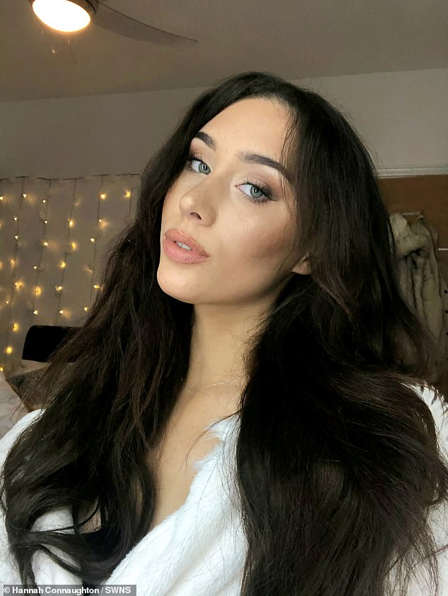 Hannah, who was bullied in school, said she spent years straightening her hairand struggled not to 'feel ugly'. Pictured: Hannah wearing extensions