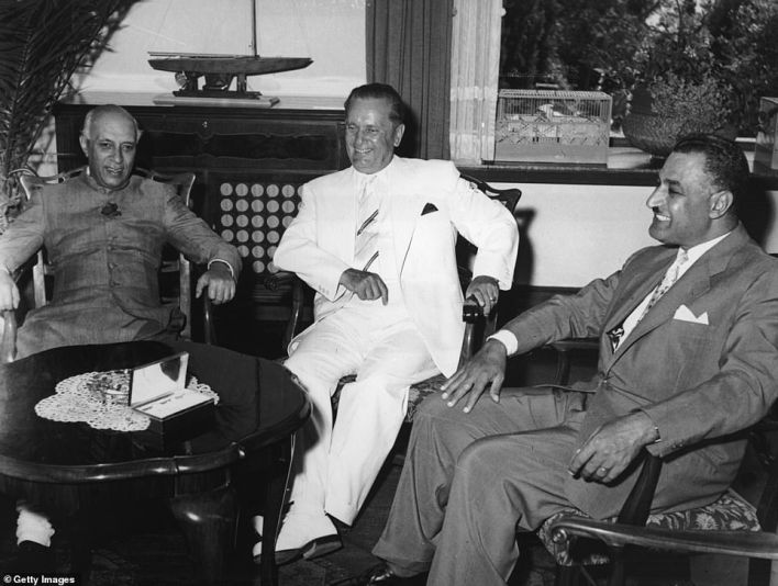 Pictured: Former Indian Prime Minister Jawaharlal Nehru (left), Yugoslav President Josip Broz Tito (centre), and Egyptian President Gamal Nasser (right)