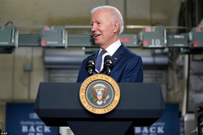 President Joe Biden argued he isn't raising taxes to pay for his ambitious $2.1 trillion plans on infrastructure and social programs but asking corporations and the wealthy to 'pay their fair share'