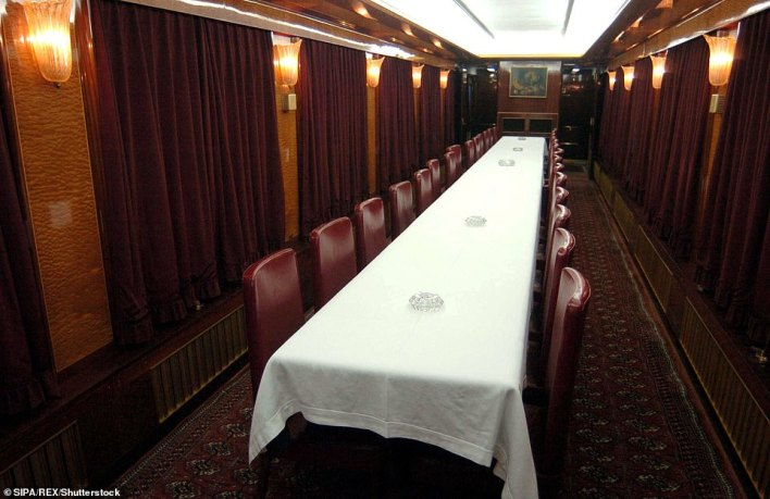 The train also features a spacious dining room (pictured), a lounge for guests, a dining-car, a main kitchen for staff and guests