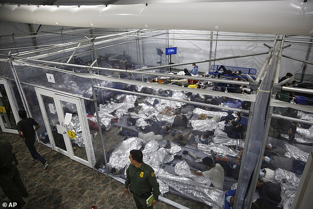 The same facility shown above on March 30 was overflowing with unaccompanied minors migrants who were apprehended crossing the border without parents or adult family members
