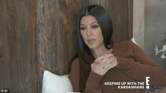 Not happy with Scott:Later in the supertease, Kourtney models a brown sweater as she looks perturbed. 'I'm not going to be made to feel guilty when the things I have asked of you haven't been done'