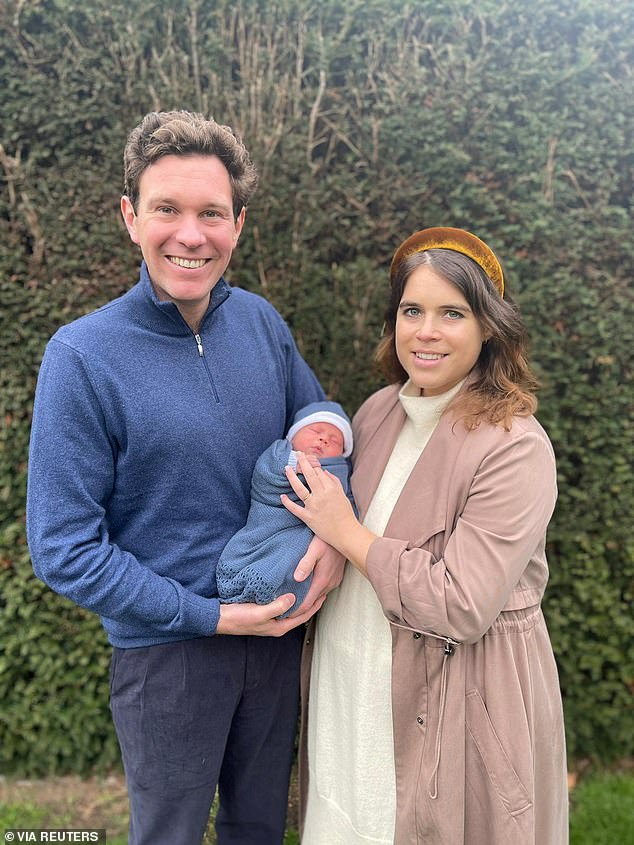 Jack and Princess Eugenie, married since 2018, met after being introduced by friends while on vacation in Switzerland.  Pictured: Jack and Eugenie with their son August