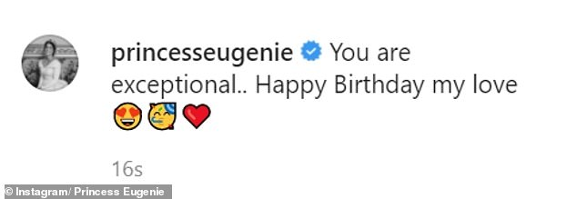 Princess Eugenie gushed in the caption of her post, saying: