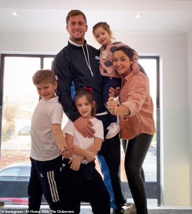 At last!Jacqueline and husband Dan Osborne, 29, revealed they finally moved into their £1.2 million Essex home on Sunday (Pictured with children: Teddy, seven, Ella, six, and Mia, two)