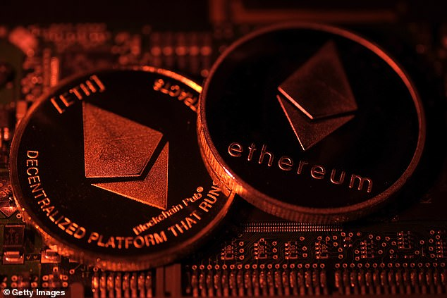Visual representations of digital cryptocurrency Ethereum (ETH) arranged on a circuit board of a hard drive on January 3, 2021 in Katwijk, Netherlands