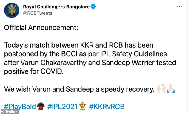 The positive tests for Chakravarthy and Sandeep Warrier forced the postponement of KKR's match with Royal Challengers Bangalore on Monday