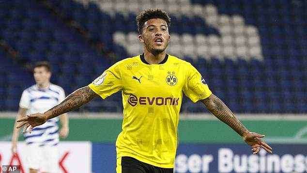 John Barnes insists Jadon Sancho (pictured) would be a good fit at Liverpool and Man United