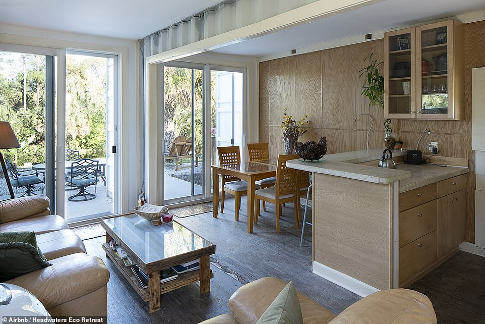 He spent $3,000 (£2,179) on each rectangular steel box and they were fused together to make a comfortable living space
