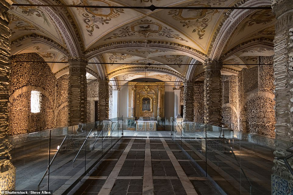 The Capela dos Ossos, which translates to the Chapel of Bones, is located in the city of Evora in Portugal, next to the Church of St. Francis