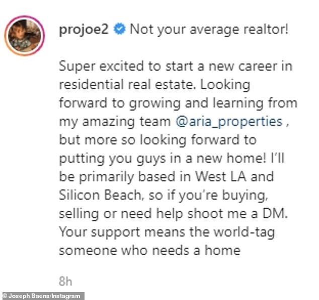 Not your average realtor!  Joseph described how excited he was to be starting his new career in West Los Angeles on his Instagram post