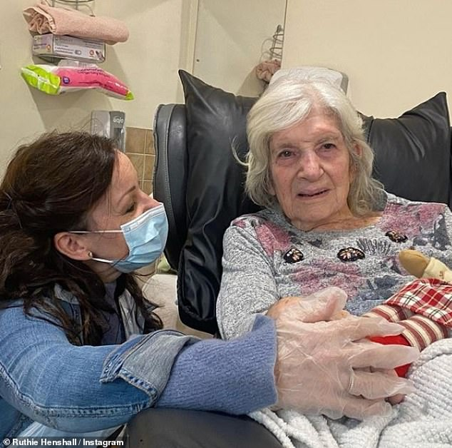 Together again: As an essential carer, Ruthie said she now has access to her mother again