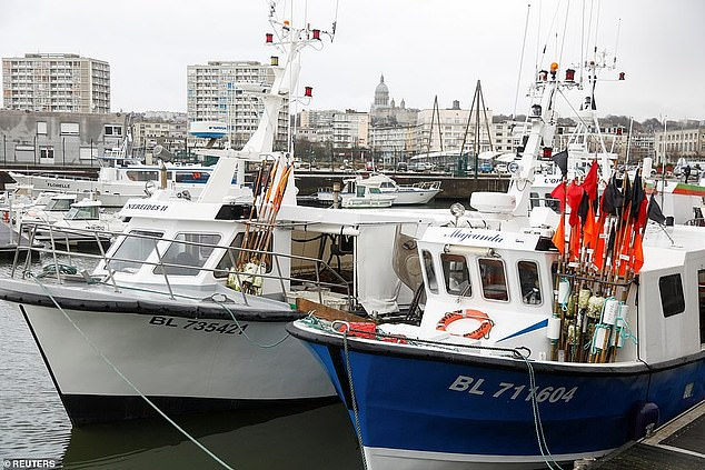 Fishing boats are seen at a port in France. Dimitri Rogoff, president of the regional fishing committee of Normandy in northern France, said that if French fishermen continued to be blocked from the waters off Jersey, there should be reprisal measures.