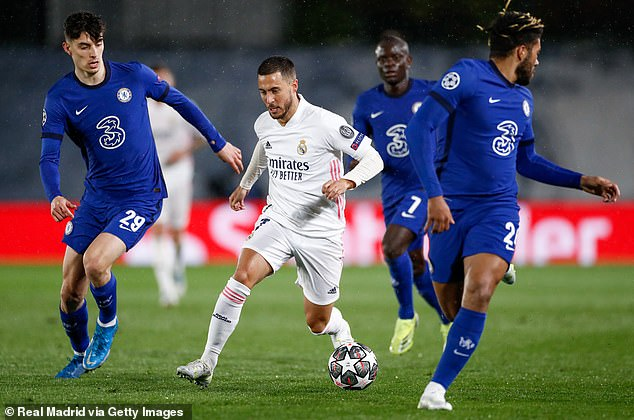 Hazard (centre) came on the play against Chelsea in Real Madrid's 1-1 first leg draw last week