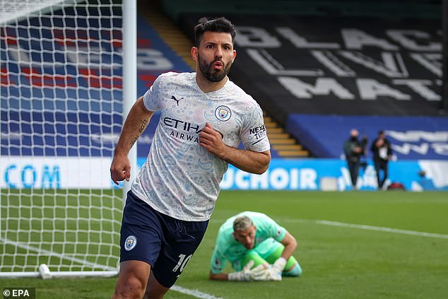 Sergio Aguero put Manchester City ahead against Crystal Palace with an emphatic finish