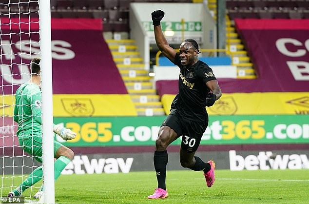 Michail Antonio was at the double for West Ham as they overcame Burnley 2-1 on Monday