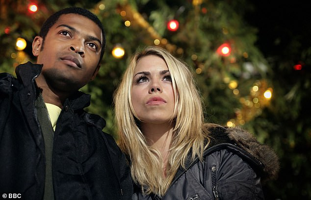 Clarke as Mickey and Billie Piper as Rose in a Christmas episode for BBC One's Doctor Who