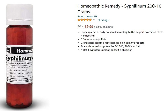 Amazon has been slammed for selling bogus homeopathy products made from the pus of syphilis blisters (pictured)