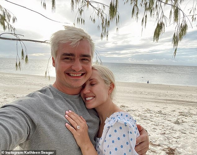 Sweet: Kathleen likewise shared images of the couple's happy moment. She wrote: 'A dream came true. Can't wait to spend the rest of my life with you'