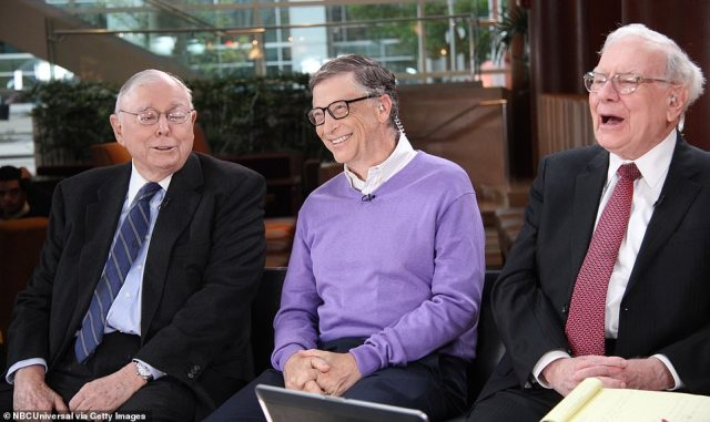 Charlie Munger, left, Bill Gates, center, and Warren Buffett. Munger, a 97-year-old WWII vet and billionaire, is representing Gates in his divorce. The pair both worked at Berkshire Hathaway - Buffett's holding company. Munger is still the Vice Chairman. Bill left the company's board in 2020 to focus on philanthropy