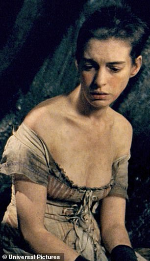 The Hollywood star shed 25lb for her role as Fantine in the film musical Les Miserables – 10lb in three weeks before filming and 15lb during production.