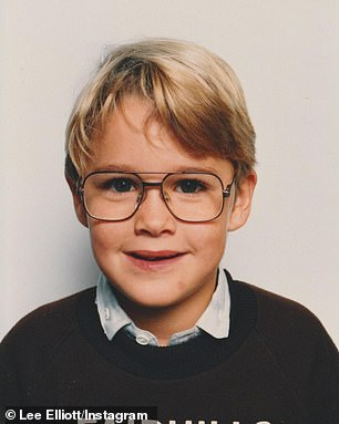 Cute kid: In the photos, the blond boy blooms into a beaming pre-teen with a spiky hairstyle and bold glasses.