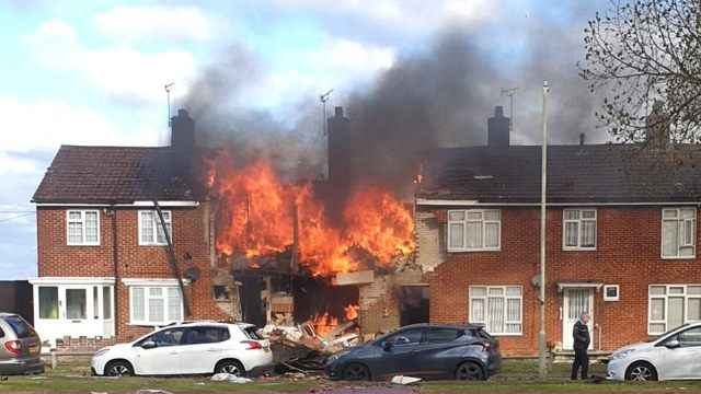 Plumes of smoke erupted into the air after the explosion in Willesborough in Ashford, Kent, just after 8am today