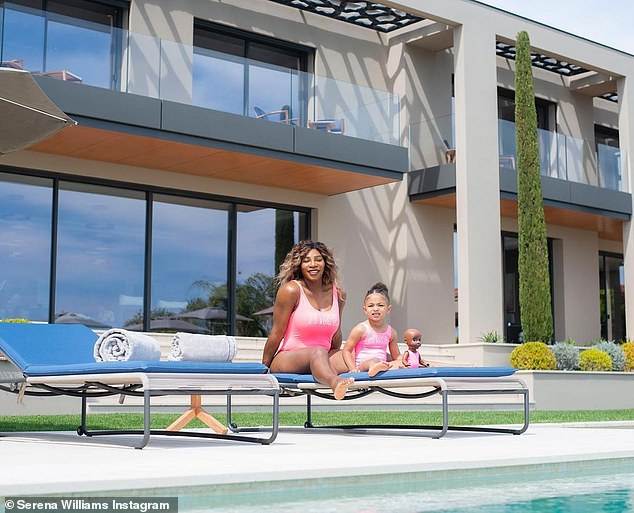So cute: The tennis star, 39, was twinning with her daughter as both wore hot pink Nike swimsuits in the adorable video and snaps that she shared on Tuesday. Even Olympia's favorite doll Qai Qai was included in the fun, sporting a matching swimsuit of her own