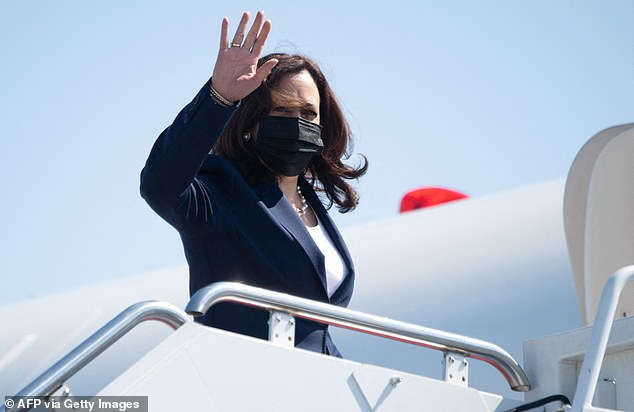 Harris departed shortly after her speech for Milwaukee, Wisconsin where she will promote Joe Biden'sproposed $2 trillion American Jobs Plan plan