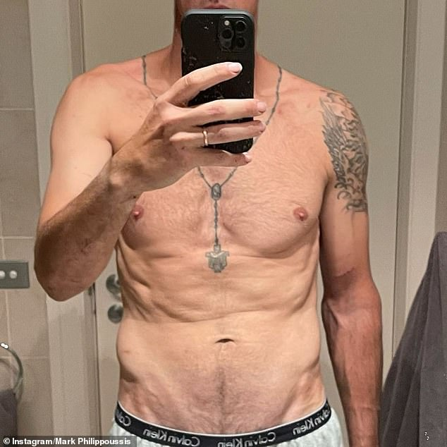 Ripped: Uploading a mirror selfie to his Instagram, the 44-year-old wrote: 'SAS aftermath - never been so excited to watch my ass get kicked,' alongside a flexed bicep emoji