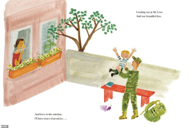 Illustrations for the book - by the artist Christian Robinson - include a red-headed soldier holding his son while a crying woman looks out of the window