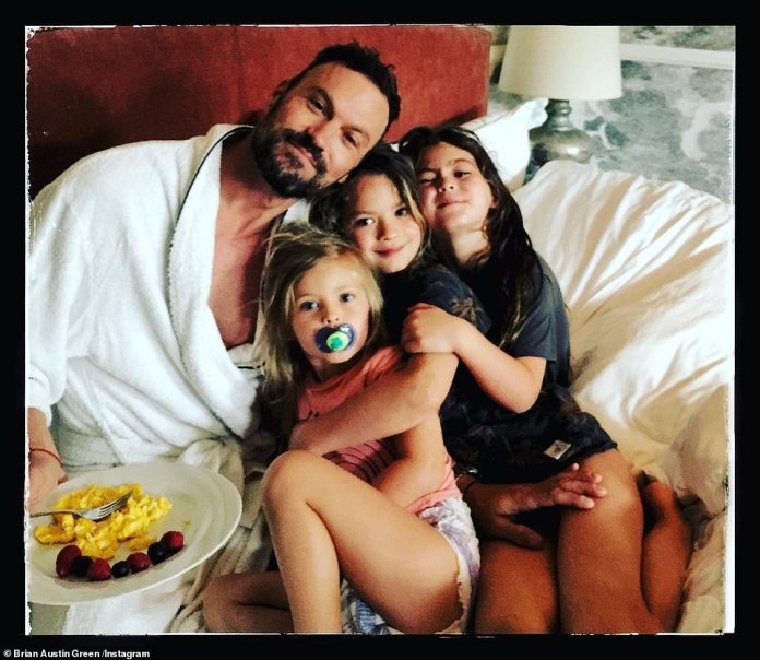His kids: Brian has three sons named Noah Shannon, Bodhi Ransom and Journey River, aged eight, seven and four, respectively with Megan Fox