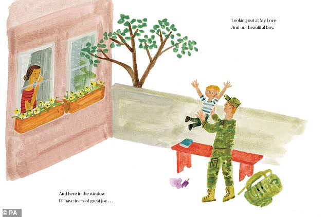 In one illustration by Christian, a red-headed soldier wearing an American-style Army cap is seen holding his young son aloft as a woman watches on crying from a window, in a likely reference to Meghan and Harry, who served in Afghanistan with the Blues and Royals. The words read: 'This is your bench, Where life begins, For you and our son, our baby, our kin'