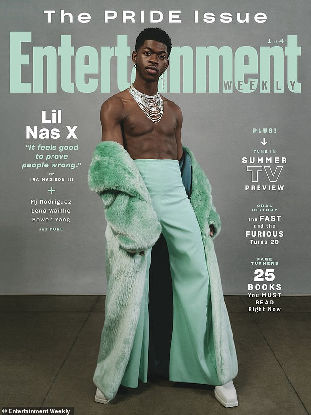 True to himself: Lil Nas X revealed he was worried his 'straight fans' would feel alienated by the explicit lyrics and raunchy video for his song Montero (Call Me By Your Name) in a new interview for Entertainment Weekly's Pride issue