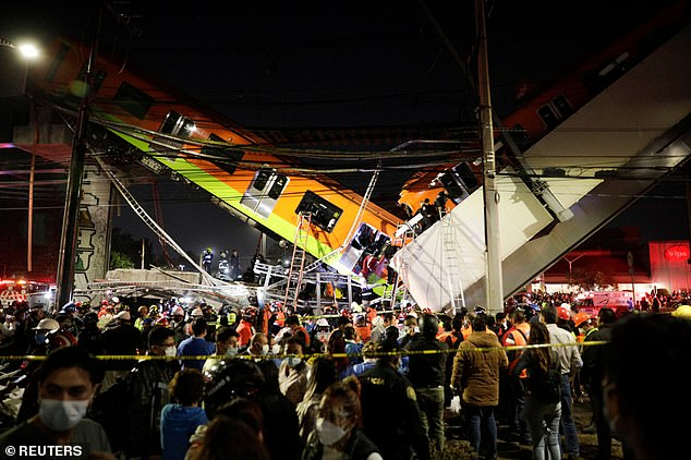 At least 24 people have been killed, including children, and 79 more injured after a train overpass collapsed on to a busy highway in Mexico City around 10.30pm Monday