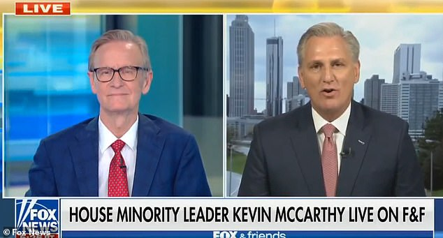 House Minority Leader Kevin McCarthy (right) defended renting a room from GOP pollster Frank Luntz, which Tucker Carlson branded on his show as a secret liberal. He pushed back to Steve Doocy (left) on 'Fox & Friends'