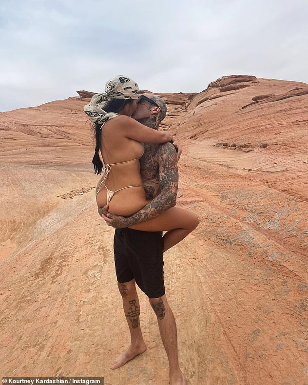 Wow!  Kourtney Kardashian straddled her boyfriend Travis Barker while wearing a nude thong bikini as the couple gazed at the exclusive Amangiri Resort in Canyon Point, Utah for their 42nd birthday last week