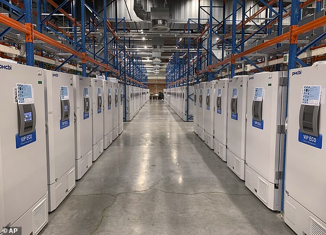Currently, the vaccine must be kept between -112F (-80C) and ‑76F (-60C) for up to six months or from 13F (-25C) to 5F (-15C) for two weeks. Pictured: Freezers for storing finished Pfizer COVID-19 vaccines, October 2020