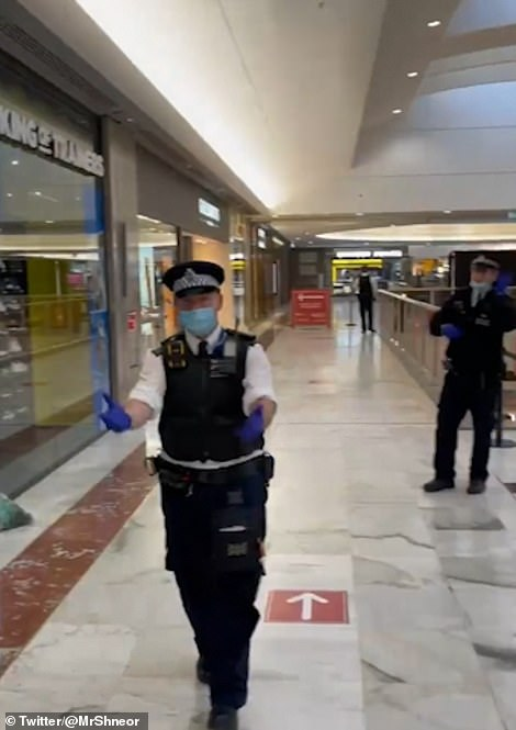 Footage shared on social media showed police ushering away shoppers near a cordon set up inside the shopping centre